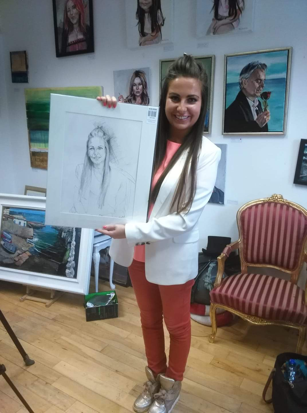 TV3's Fashion Guru Emily O'Donnel with her Protrait in Greystones Art Gallery