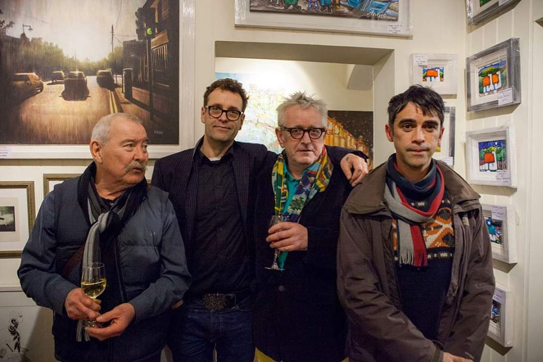 Tom Byren with George, Graham Knuttel and Joby Hickey in Greystones Art Gallery